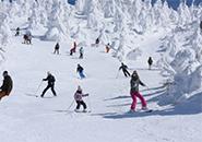 懺悔を滑る親子と大勢のスキー・ボーダー